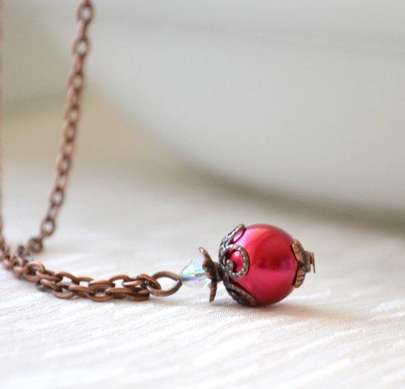 Wedding - Dark red bridesmaids necklace, Wedding jewelry, red bridesmaids gifts, rustic wedding jewelry, woodland wedding beaded jewelry