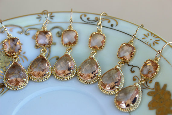 زفاف - READY TO SHIP - 10% Off Set of 4 Wedding Jewelry Bridesmaid Earrings Bridal Bridesmaid Jewelry Champagne Blush Earrings Peach Gold Teardrop