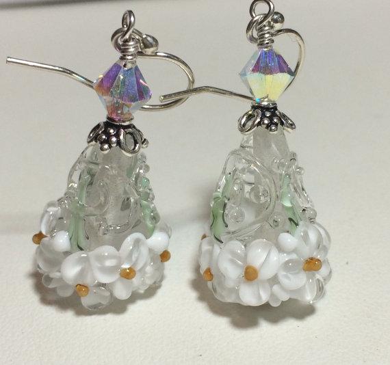 زفاف - Handmade Lampwork jewelry Glass Beaded Earrings floral cones flowers wedding earrings bridal