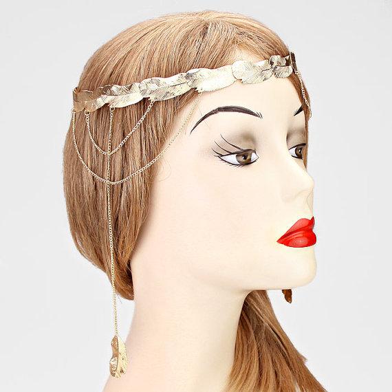 زفاف - Boho Laurel Wedding Veil Head Chain Lace with Feather Headchain Grecian Headpiece Music Festival Hair Accessory Gypsy head jewelry