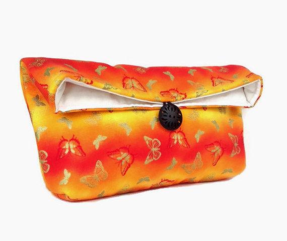 زفاف - Butterfly Clutch, Spring Fashion, Orange Clutch, Yellow Clutch, Spring Wedding Bridal Clutch, Bridesmaid Gift, Makeup Bag, Bridesmaid Clutch