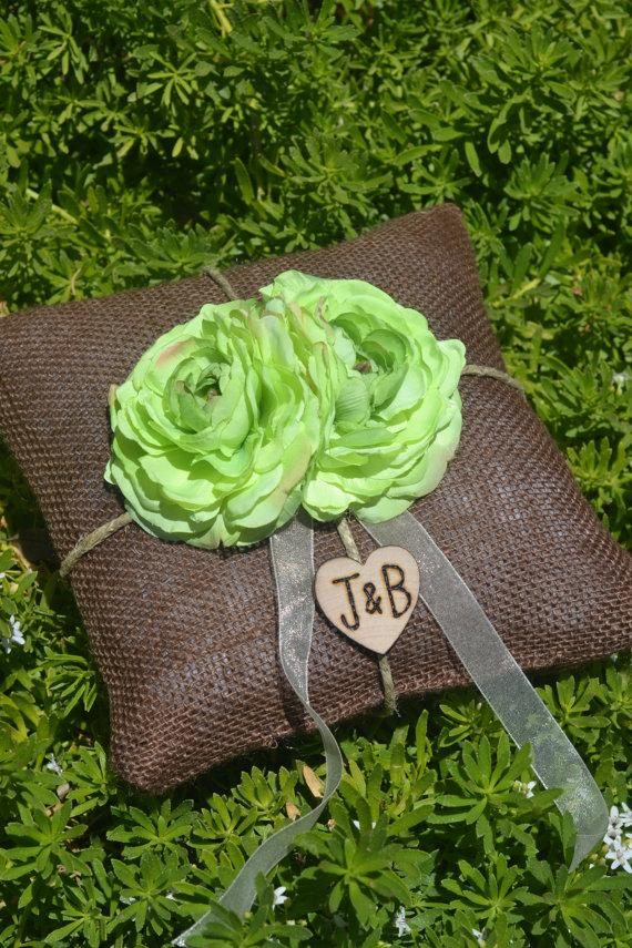 Свадьба - Brown Burlap Ring bearer pillow with green lime flowers You personalize it 10% discount promo code SPRING entire shop