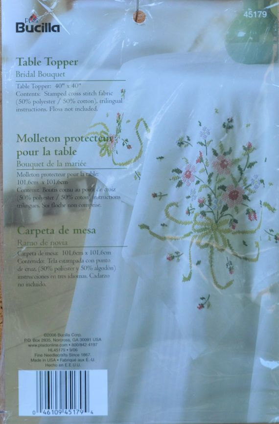 Wedding - Bridal Bouquet Table Topper -Bucilla - Kit 45179 - Stamped Cross Stitch  - CDA/US Free Shipping