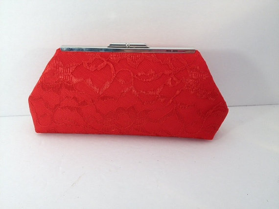زفاف - Red Lace Clutch Purse with Silver Tone  Finish Snap Close Frame, Bridesmaid, Wedding, Victorian, Romance, Red Clutch, Bridal Clutch