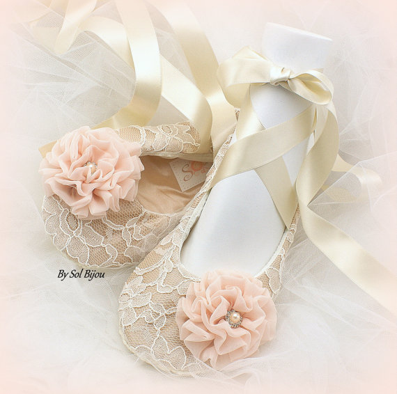 Lace Ballet Flats, Wedding, Bridal, Ballerina Slippers, Champagne ...