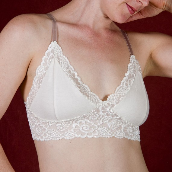 Mariage - Organic Cotton/Lycra Ivory Bra - 'Angel's Trumpet' - Made To Order Womens Lingerie