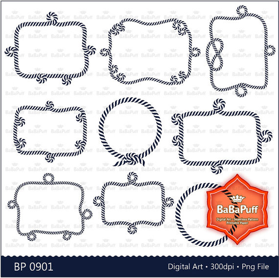 Wedding - 9 Nautical Rope Digital Frames Clip Art. Personal and Small Commercial Use. BP 0901