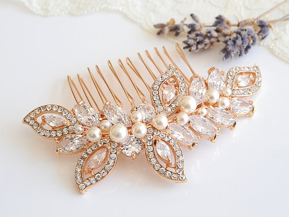 Свадьба - Rose Gold Wedding Hair Comb, Crystal Leaf Wedding Hairpiece, Bridal Hair Comb, Swarovski Pearl Bridal Headpiece, CZ Hair Clip, AUGUSTINA