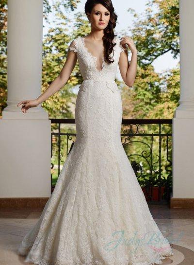 Wedding - sexy plunging neck sheer back mermaid lace wedding dress