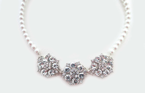Mariage - Bridal Pearl Necklace, Rhinestone Wedding Necklace, Bridal Jewelry, Wedding Jewellery, Statement Bridal Necklace