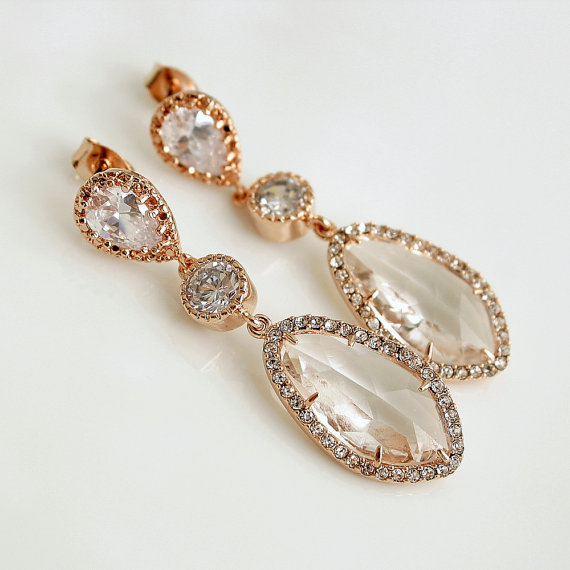 Mariage - ROSE GOLD Wedding Jewelry Rose Gold Bridal Earrings Wedding Earrings Cubic Zirconia Posts with Clear Glass drops