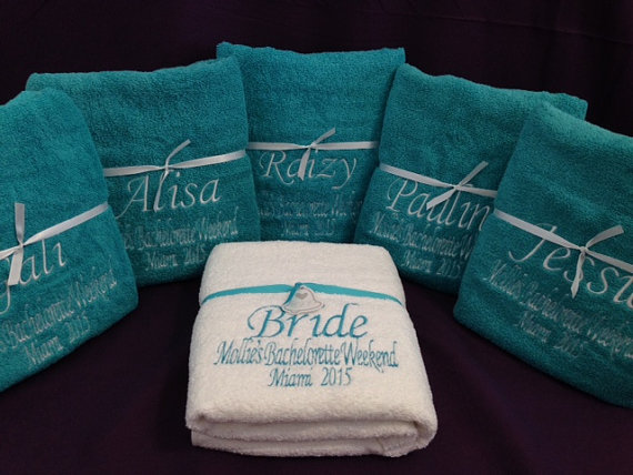 Wedding Bridesmaid Bachelorette Beach Pool Bath Towels Embroidered Personalized FREE SHIPPING Within USA