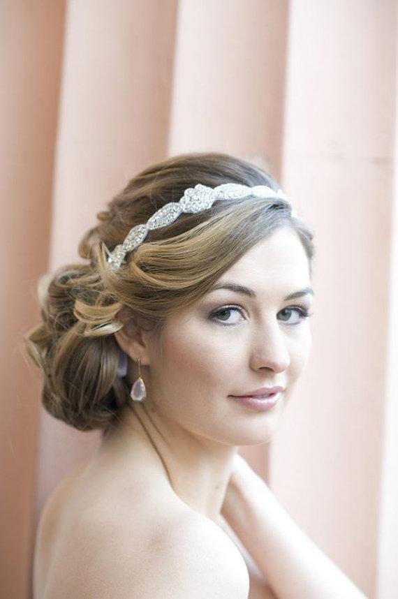 Hochzeit - Rhinestone Headband, Gorgeous 1920s Flapper headband Wedding Headband, Crystal ribbon tie on Headband, Wedding Halo Bridal Headpiece