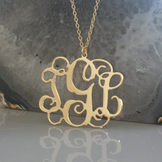 Свадьба - 18k Gold Plated Monogram Necklace-1.25 inch- Personalized Monogram-Initials jewelry-Bridal jewelry-wedding gift-Baby shower-Mothers day gift