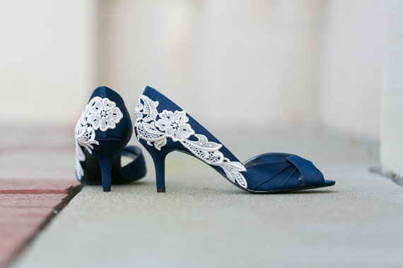 60d185a7f592 Wedding Shoes - Navy Blue Bridal Shoes