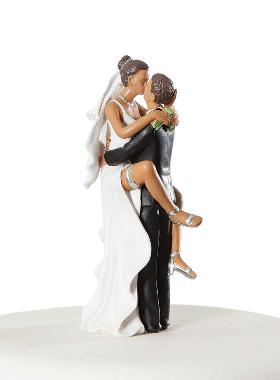 Funny Sexy African American Wedding Cake Topper