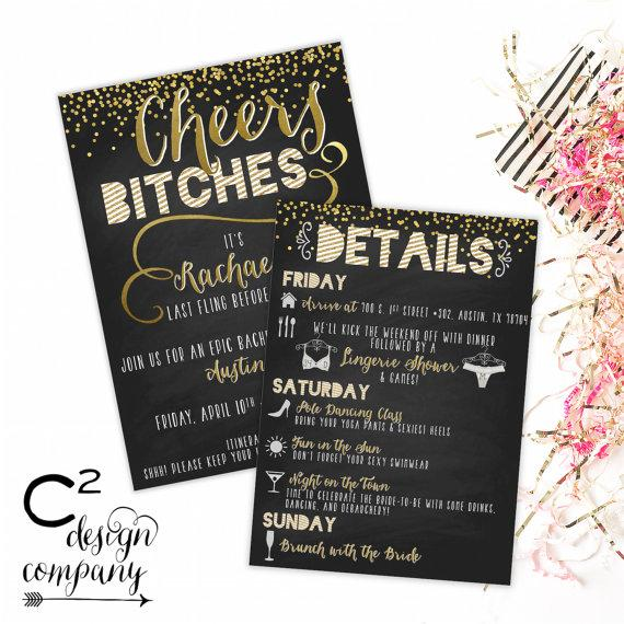 Hochzeit - Cheers Bitches Bachelorette Invitation with Itinerary