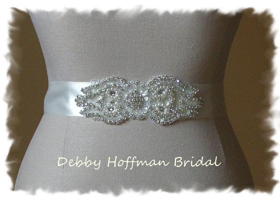 Свадьба - Rhinestone Crystal Pearl Bridal Sash, Pearl Wedding Dress Belt, Pearl Crystal Wedding Sash, No. 4000S1.5, Wedding Accessories, Belts, Sashes