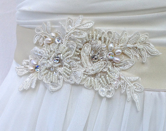 Mariage - Bridal Sash, Wedding Sash in Pale Champagne, Ivory, Cream  With Lace, Crystals and Cultured Pearls, Rhinestones, Bridal Belt, Colors Choices