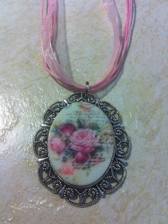 Mariage - Mauve Pink Porcelain Rose Cameo Necklace Pendant Vintage Victorian Style Cameo Scarf Purse Charm