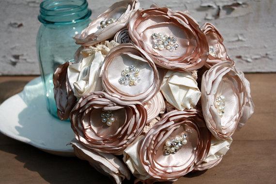 """زفاف - Champagne fabric bridal bouquet, 7"""" wedding bouquet in rich champagne and cream"""