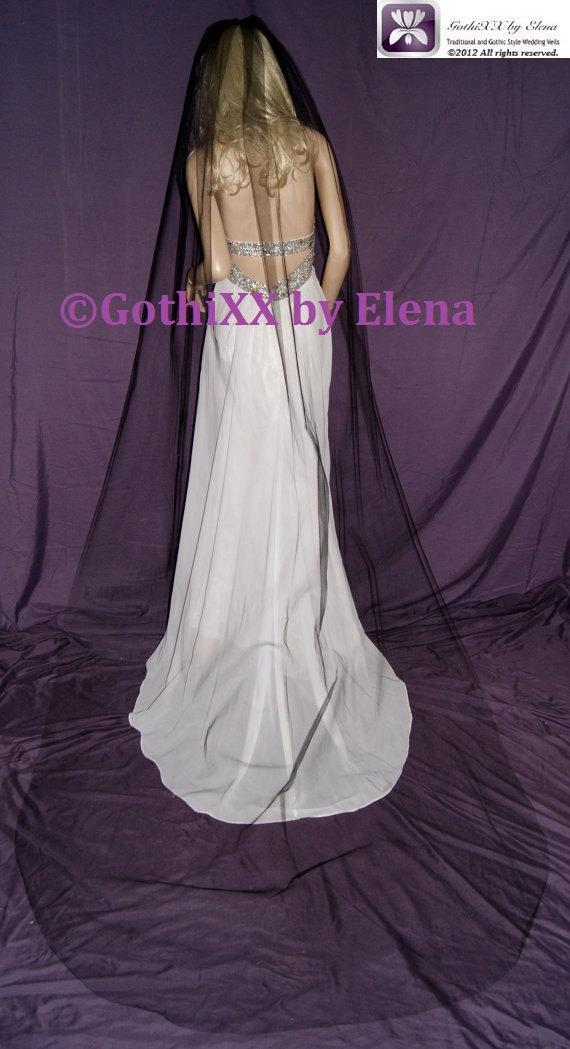 """زفاف - Wedding Veil Cathedra Gothicl Black Red Purple Pink White Ivory Beige  54"""" width 110"""" length Cut Edge available in 17 colors"""