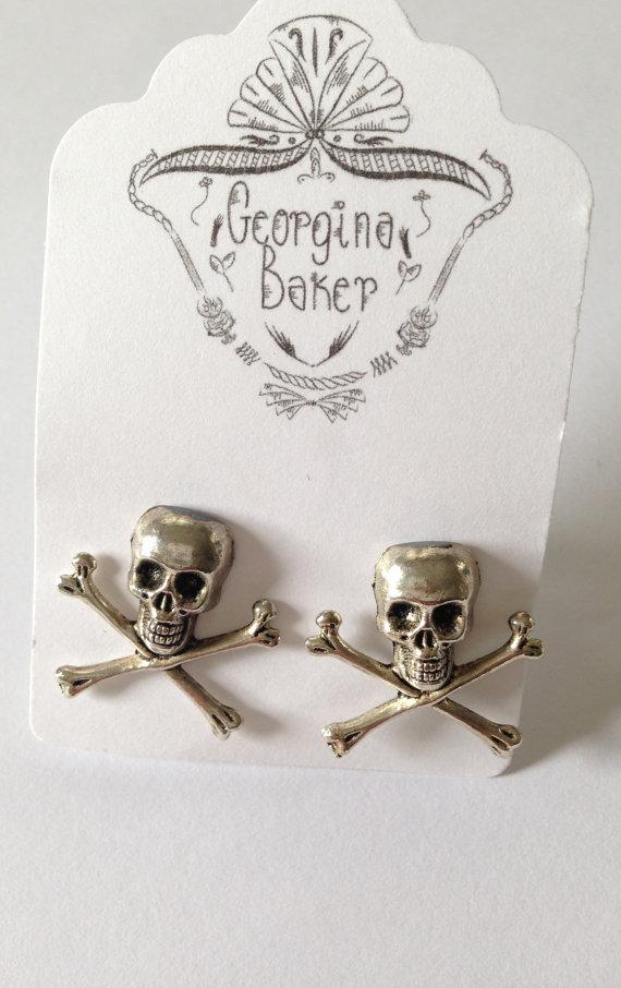 Свадьба - Skull and Crossbones Cufflinks, Skull Cufflinks, Groomsmen Cufflinks, Cool Cufflinks, Pirate Cufflinks, Crossbone Cufflink, Silver Cufflinks