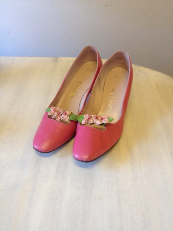 pink mod flower shoes pink wedding shoes s