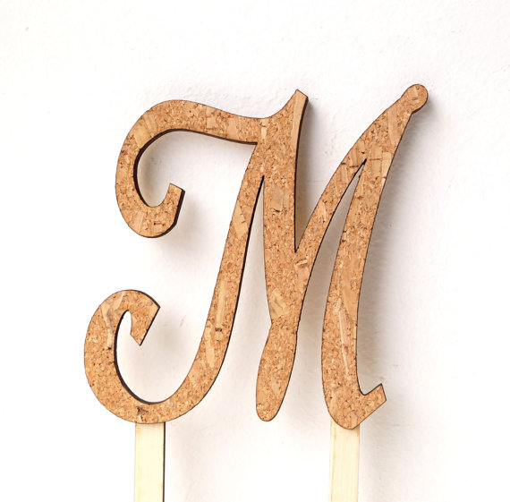 Rustic Cake Topper Wedding Cake Topper Monogram Cake Topper