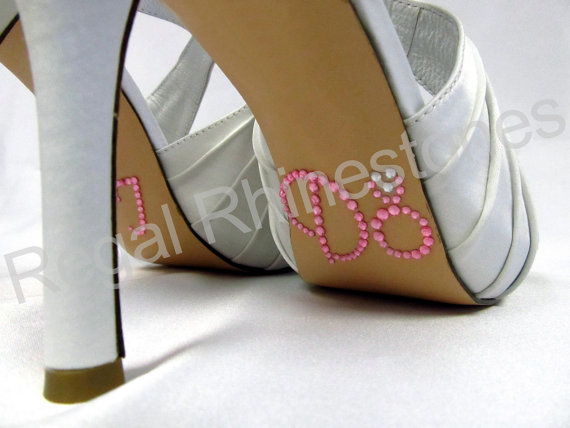 Mariage - I Do Shoe Stickers - LIGHT PINK & Clear ENGAGEMENT Ring Shoe Decal - Rhinestone I Do Wedding Shoe Stickers for your Bridal Shoes