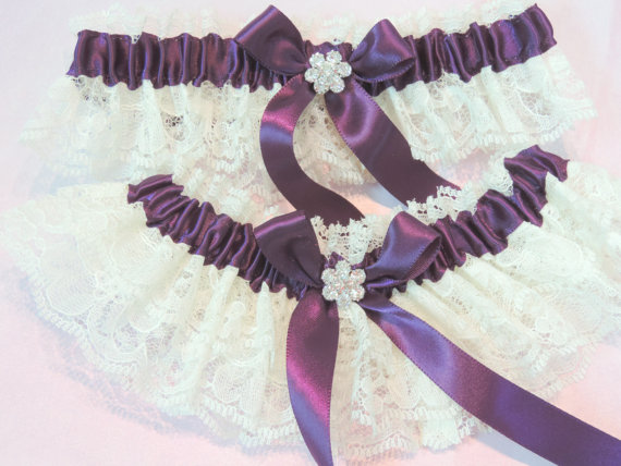 Wedding - Eggplant Wedding Garter Set, Wedding Garter Set, Wedding Garters, Garters, Bridal Garters, Ivory Garters