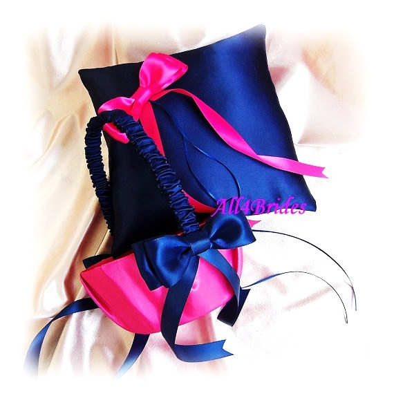 Ring Bearer Pillow And Flower Girl Basket, Navy Blue And Fuchsia ...