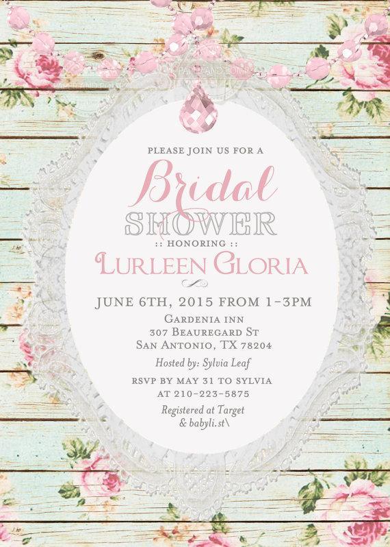 Mariage - Vintage Shabby Chic Floral Crystal Garland Bridal Shower Invitation Printable Digital - ANY EVENT
