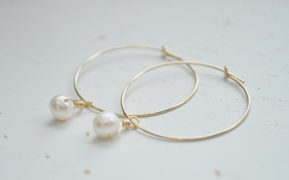 Pearl Drop Hoop Earrings Gold Filled Hoops Freshwater Pearls Wedding Modern Minimal Sweet Gift Simple Everyday Jewelry Adenandclaire