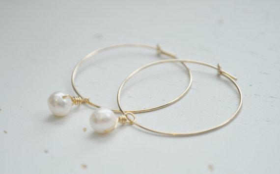 Mariage - Pearl Drop Hoop Earrings - gold filled hoops freshwater pearls wedding modern minimal sweet gift - simple everyday jewelry - adenandclaire