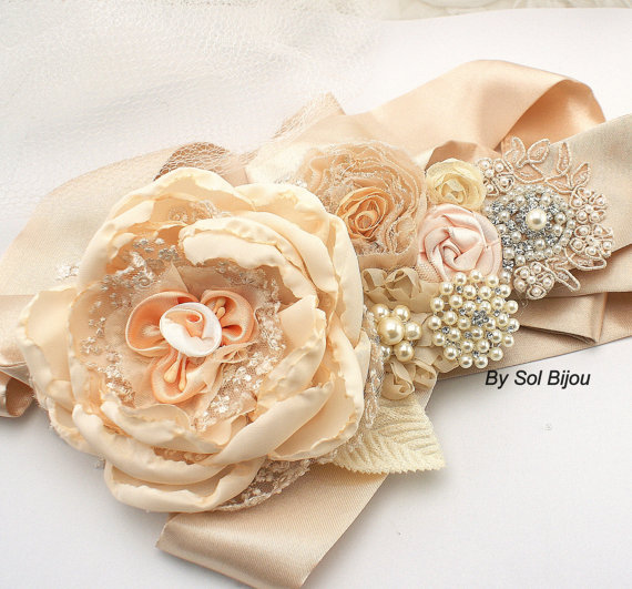 Mariage - Bridal Sash, Wedding Sash in Soft Peach, Ivory, Champagne, Gold and Blush with Chiffon, Pearls, Crystals and Lace