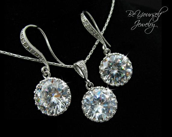 زفاف - Bridal Earrings & Necklace Set Round Cubic Zirconia Jewelry Set Sparkly White Crystal Earring Hypoallergenic Bridesmaid Gift Wedding Jewelry