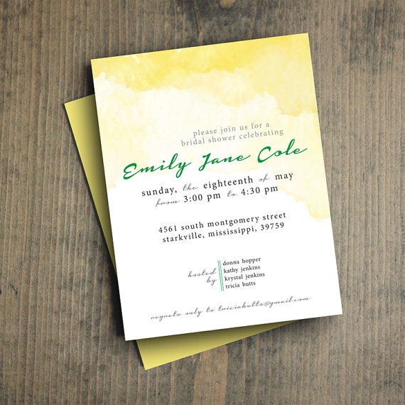 زفاف - personalized bridal shower invitation, modern yellow watercolor, PRINTABLE PDF, custom invite, baby shower, DIY, letterhappy