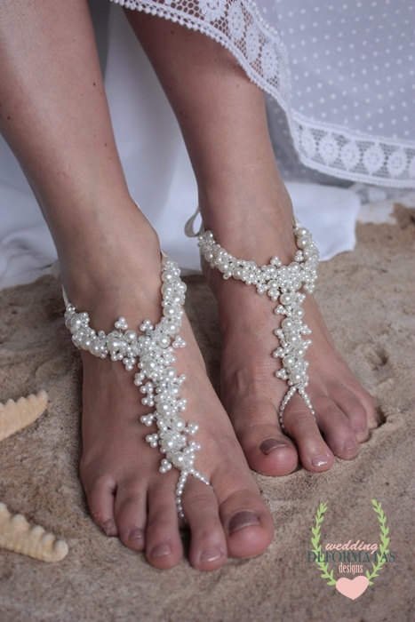 Wedding - Beach Wedding Foot Jewelry, Bridal Crystal Pearl Barefoot Sandals,Boho Slave Anklet,Boho Wedding,Flower Girl Shoes,Footles Sandles
