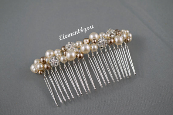 Свадьба - Bridal hair comb, wedding hair accessories, bridal hair pieces, rhinestone hair comb, wedding hair comb, bridal pearl, Ivory Champagne mix