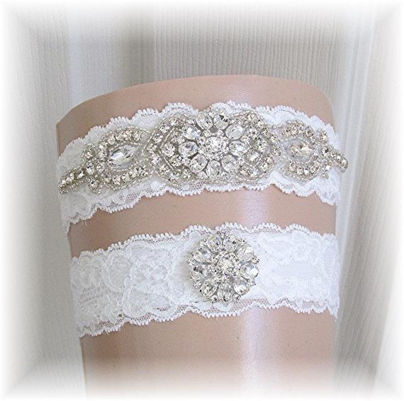 Mariage - Wedding Garter Belt Set, Bridal Garter Set, Keepsake and Toss Crystal Garters, Ivory Lace Wedding Garters with Crystal Rhinestones