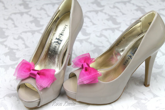 Свадьба - Pink Ombre Shoe Clips, Pink Bow Shoe Clip, Pink Wedding Bow Clip Shoes, Pink Wedding Accessories