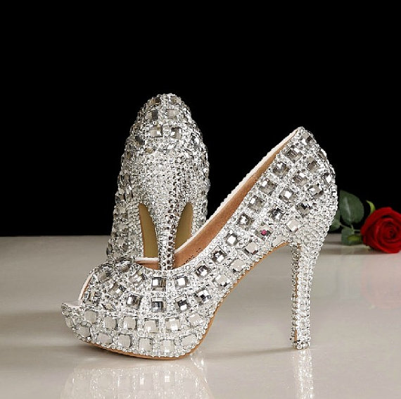 4 5 Inches P Toe Wedding Shoes Bling Bridal Heels In Handmade