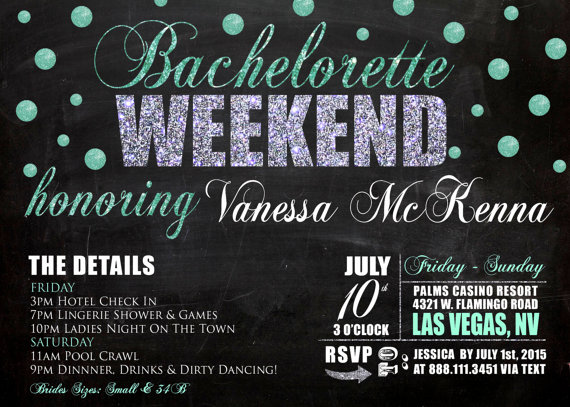 Bachelorette Party Weekend Invitation Detailed Weekend Getaway