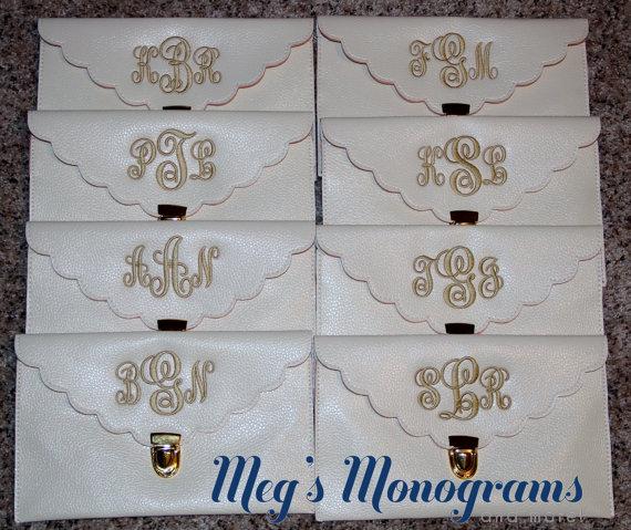 Hochzeit - FREE SHIPPING Monogrammed scallop clutch Bridesmaids gift/Wedding