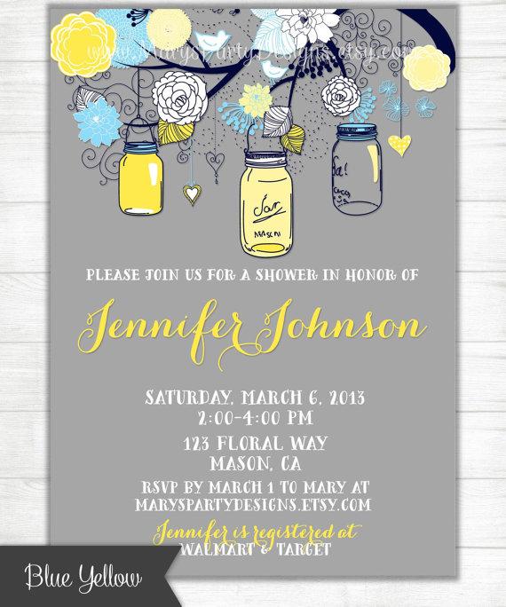 Royal Blue Yellow Navy Gray Mason Jars Invitation Shabby Chic Gray