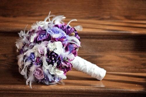 Hochzeit - PURPLE HAZE Wedding Bouquet With Feather Accents