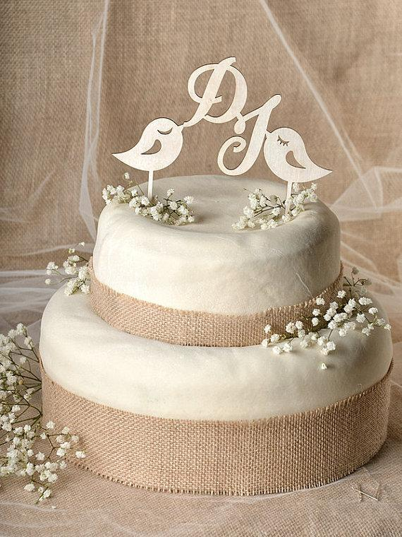 Mariage - Rustic Cake Topper, Wood Cake Topper, Monogram Cake Topper, Lovebirds  Cake Topper, Wedding Cake Topper,
