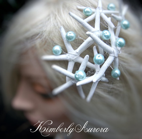 Hochzeit - Beach Wedding Starfish Hair Accessory Comb (Elegant Keys Pencil Starfish Style). In Stock, Ready to Ship