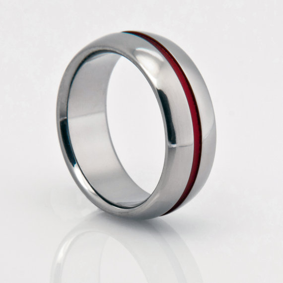 Wedding - Titanium Band, Red Pinstripe, Red String of Fate, Titanium Ring, Wedding Ring, Titanium Wedding Band, Engagement Ring, Mens or Womens Ring